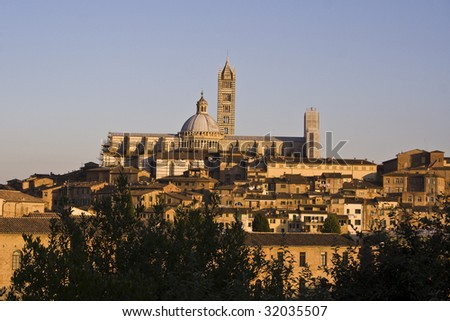 Panorama of Lucca before sunset - stock photo