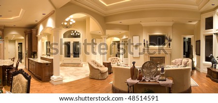 Panorama of Luxury Home Interior - stock photo