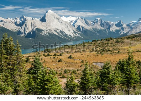 Panorama of Maligne Lake in Jasper National Park, Rocky Mountains, West Canada, Alberta - stock photo