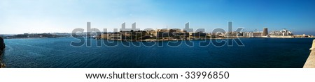 Panorama of Malta's Main harbor - stock photo