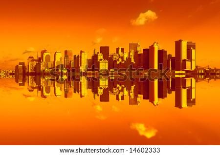 panorama of manhattan in sunset light, new york - stock photo