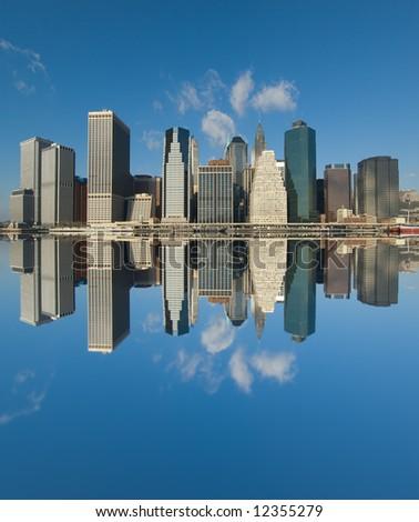 panorama of manhattan, new york - stock photo