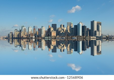 panorama of manhattan, new york - stock photo