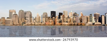 Panorama of Manhattan skyline - stock photo