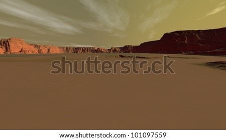 Panorama of Mars crater-plain with stratospheric ice crystal clouds - stock photo