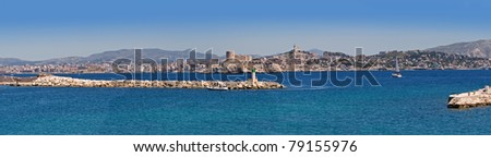 panorama of marseille with chateau d'if, france - stock photo