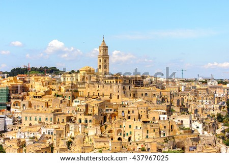 Panorama of Matera, Puglia, Italy. The Sassi and the Park of the Rupestrian Churches of Matera. UNESCO World Heritage