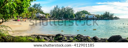Panorama of Mauritius famous beach Pereybere in the North coast - stock photo