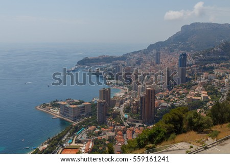 panorama of Mediterranean Sea, coast and residential districts of Monaco