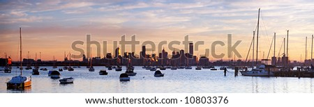 Panorama of Melbourne, Australia, at dawn.  Viewed from Williamstown.  XXL file. - stock photo