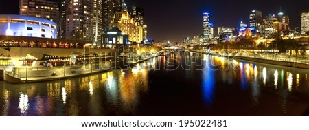 panorama of melbourne looking down the yarra river - stock photo