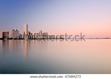 panorama of miami bayfront and cruise port, at approaching dusk - stock photo