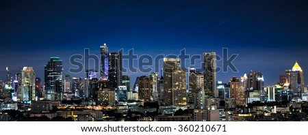 Panorama of midtown bangkok by night, Thailand - stock photo