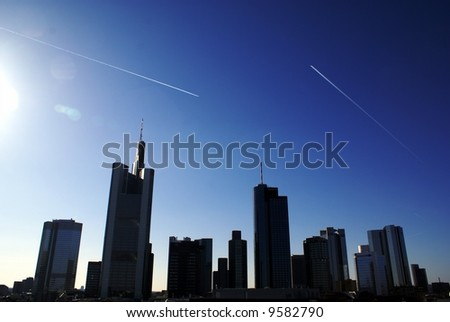 Panorama of modern commercial city - stock photo