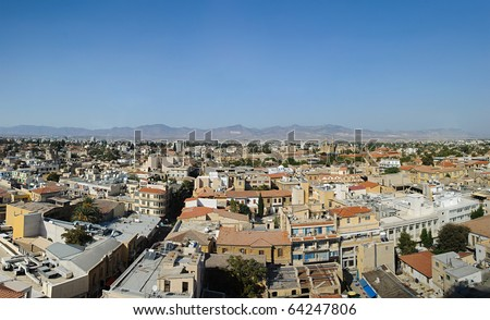 Panorama of modern Nicosia, capital of Cyprus