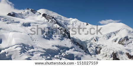 Panorama of Mont Maudit (4465m), Mont Blanc (4810m) and Dome du Gouter (4304m) in the Mont Blanc massif from the Aiguille du Midi, Chamonix, France. - stock photo