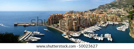 Panorama of Monte Carlo Marina from Above. Fontvieille, new district of Monaco. - stock photo