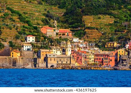 Panorama of Monterosso al Mare, a small town in province of La Spezia, Liguria, Italy. It's one of the lands of Cinque Terre, UNESCO World Heritage Site - stock photo