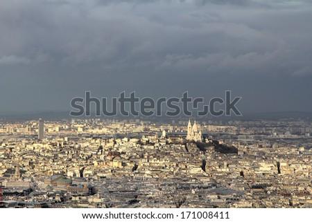 Panorama of Montmartre with the Sacr�© C��ur Basilique (Basilic)  - stock photo