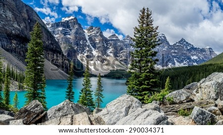 Panorama of Moraine lake in the Valley of Ten Peaks, Banff National Park, Alberta, Canada. - stock photo