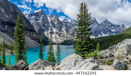 Panorama of Moraine lake in the Valley of Ten Peaks, Banff National Park, Alberta, Canada.