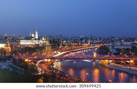 Panorama of Moscow at night, top view, Russia - stock photo