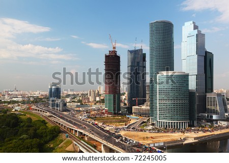 panorama of Moscow City complex of skyscrapers in Moscow, Russia - stock photo