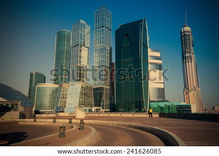 panorama of Moscow City, Russia from the right bank of the Moscow River, instagram image style - stock photo