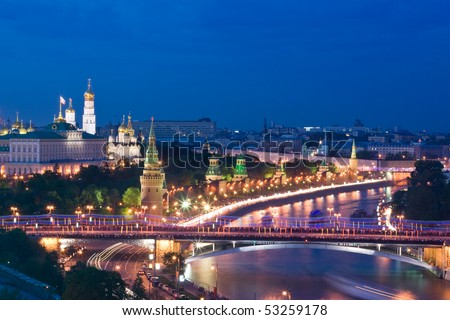Panorama of Moscow Kremlin at night - stock photo