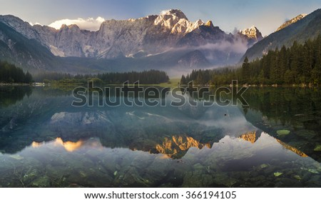 panorama of mountain lake in the Julian Alps,Laghi di Fusine