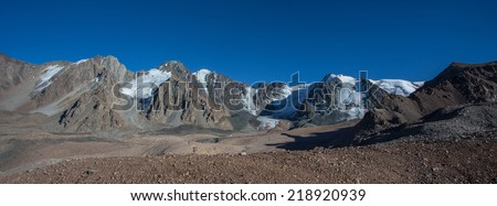 panorama of mountains - stock photo