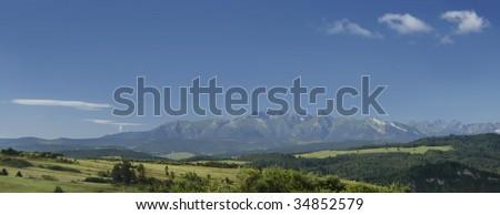 panorama of mountains - stock photo
