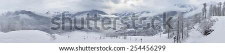 Panorama of mountains in Rosa Khutor Alpine Resort. Russia. - stock photo