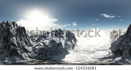 panorama of mountains. made with the one 360 degree lense camera without any seams ready for virtual reality 3D illustration