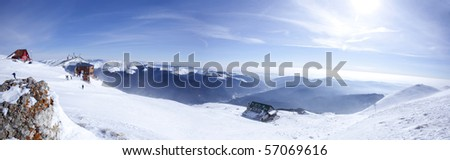 panorama of mountains on winter