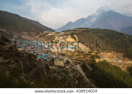 Panorama of Namche Bazar on the way to Everest Base Camp - stock photo