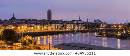 Panorama of Nantes at sunrise. Nantes, Pays de la Loire, France