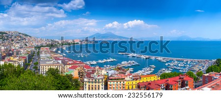 Panorama of Naples, view of the port in the Gulf of Naples and Mount Vesuvius. The province of Campania. Italy. - stock photo