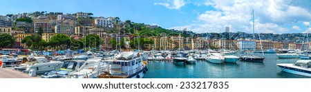 Panorama of Naples, view of the port in the Gulf of Naples and Yacht in Yacht Club. The province of Campania. Italy. - stock photo