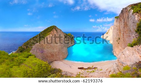Panorama of Navagio beach with a ship wreck on Zakynthos, Greece