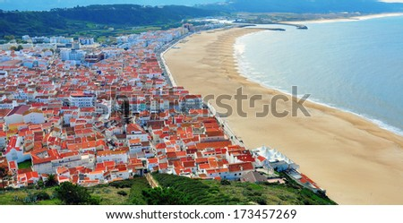 Panorama of Nazare, Portugal - stock photo