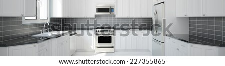 Panorama of new empty white kitchen with black tiles (3D Rendering) - stock photo