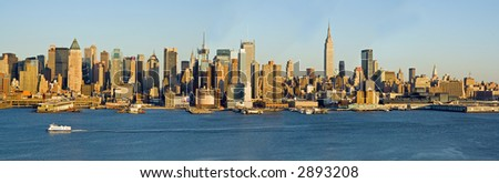 Panorama of New York City and Hudson River - stock photo