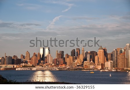 Panorama of New York city, evening time - stock photo