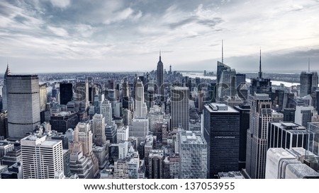Panorama of New York City in Midtown Manhattan. Low color saturation. - stock photo