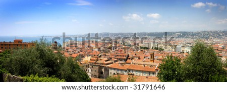 Panorama of Nice, France on the French Riviera