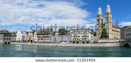Panorama of Niederdorf - Zurich downtown - stock photo