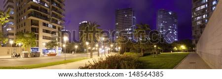 Panorama of night city. Barcelona, Spain - stock photo