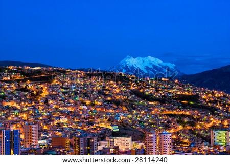 Panorama of night La Paz, Bolivia - stock photo