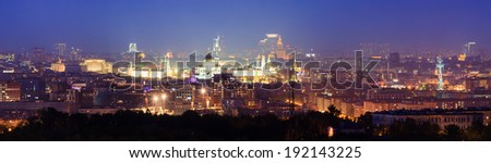 Panorama of night Moscow  - stock photo